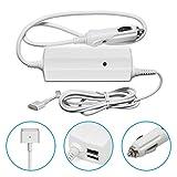 Original iProtect® Auto KFZ Universal Adapter Netzteil Ladegerät 85W für Apple MacBook mit MagSafe 2 Netzanschluss Charger + 2 zusätzliche USB Anschlüsse für iPhone / iPad in weiß