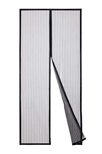 Sekey 80x200cm Magnet Fliegengitter Tür Vorhang für Holz, Eisen, Aluminium Türen und Balkon, Kinderleichte Klebemontage Ohne Bohren, Schwarz