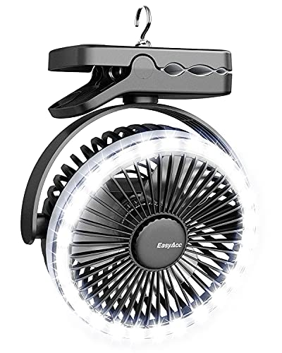 EasyAcc 6700mAh Camping Ventilator Clip Tischventilator mit LED Lichter 4 Geschwindigkeiten 6-21H 360 ° Kühlventilator für Außenbereich Kinderwagen Schwarz