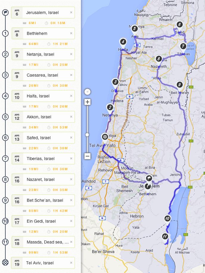 Israel Roadtrip Planung - Da geht's lang