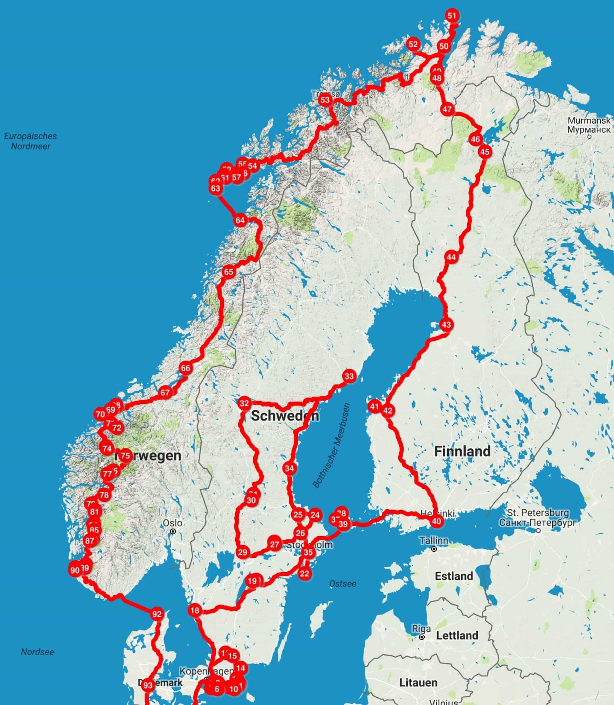Skandinavien Reiseroute
